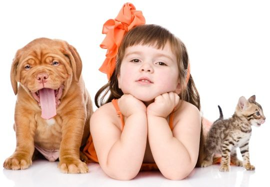 Girl with Dog and Cat